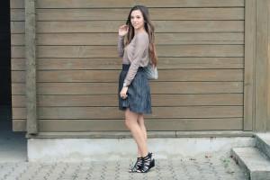 Outfit metallic Skirt black rosegold