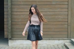 Outfit skirt metallic Oberteil Rock