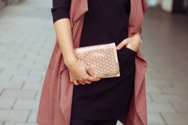 rosegold clutch handbag