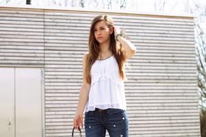 Perlen Jeans Outfit Trend 2017 DIY verzieren Jeans Fashion blogger modeblogger lifestyle blogger
