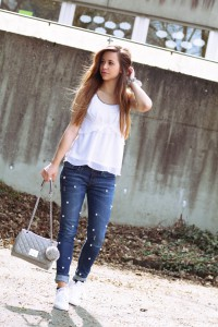 Perlen Jeans Outfit of the day Jeans mit Perlen verzieren lookbook fashionpost