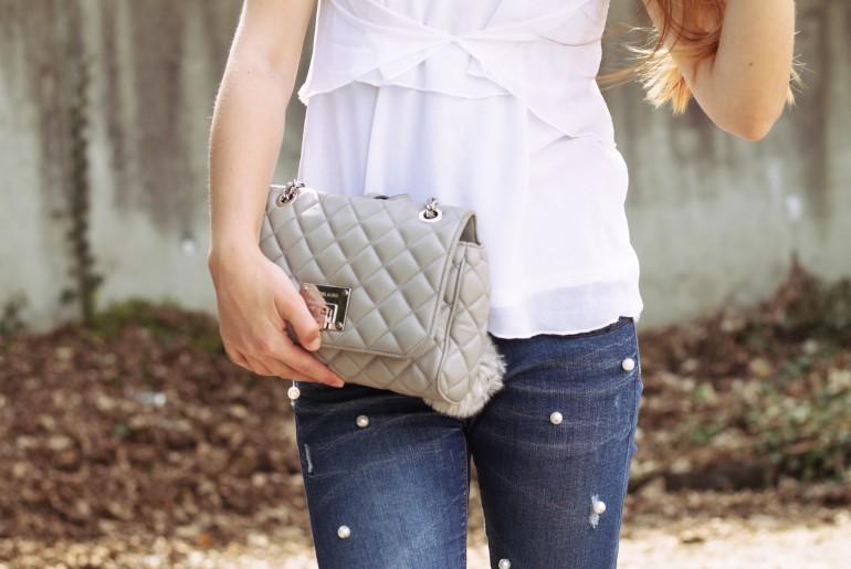 Perlenjeans Michael Kors Handtasche Outfit fashion blog