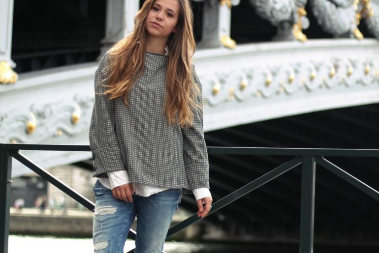 Vichy-Karo Trompetenärmel Paris Pont Alexandre III Trend 2017 Frühjahr Boyfriend Jeans München Blogger Fashion Blogger Lifestyle Blogger Blogger-Outfit Fashion
