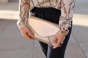goldene Clutch beige samt Handtasche