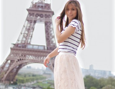 sheer skirt Trend 2017 Tüll Spitze Rock Paris Eiffelturm le tour eifel Outfit Fashion blogger