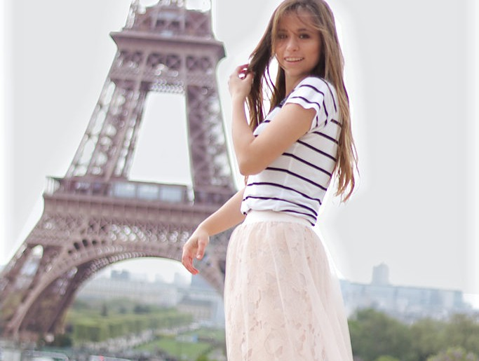 sheer skirt Trend 2017 Tüll Spitze Rock Paris Eiffelturm le tour eifel Outfit Fashion blogger