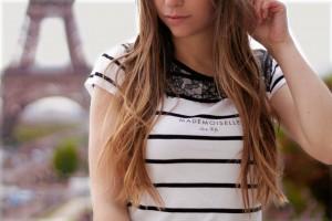 Mademoiselle Paris Fashion schawarz weiß gestreift Top