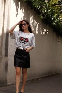 Coco Breton Streifen Shirt Trend 2017 oversize shirt Lederrock blogger Whitelilystyle fashion blog outfit Streetstyle