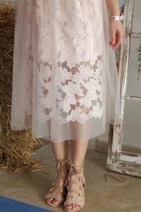 sheer skirt rose cute flower shoes