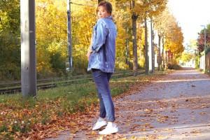 Blogger Fashion Jeansjacke kombination Jeans auf Jeans