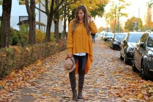 Senfgelbes Oberteil Wie kombiniere ich senflgelbes Kleidungsstück Overknees Outfit Lookbook blogger Fashion Style München Herbst
