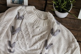 Zopfmuster Damen Pulli Strickpullover mit Band Schnürung blogger DIY Fashion Upcycling Kordel Herbst Trend
