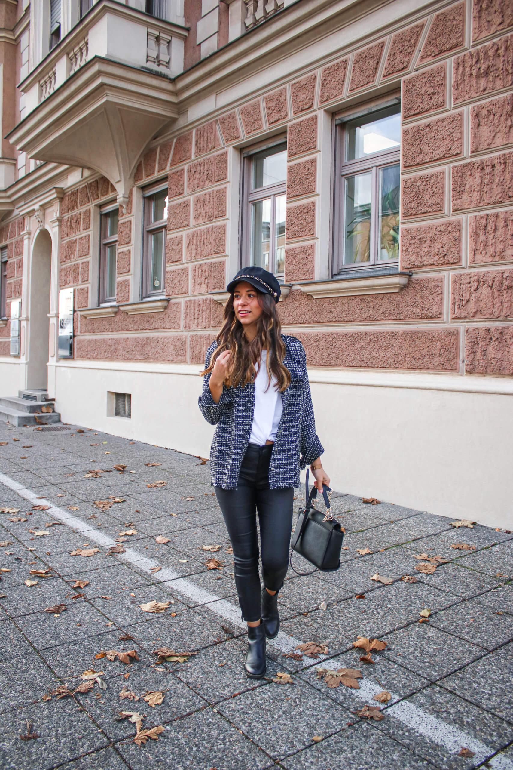 Outfit of the day - Lederleggings und Tweed Jacke
