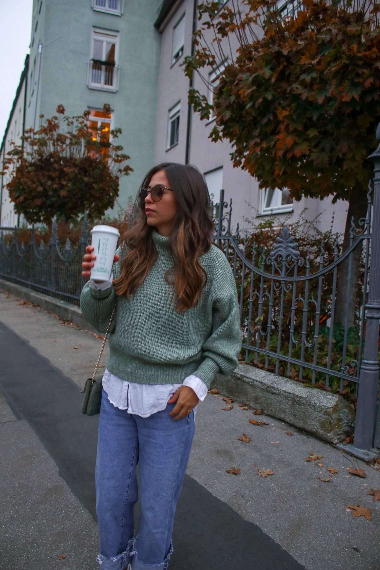 Grünen Pullover kombinieren- oversize Style