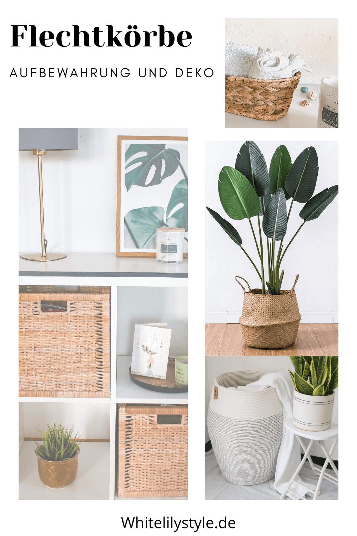 Flechtkörbe zur Aufbewahrung und Dekoration- wie stylen wir Aufbewahrungskörbe im Wohnzimmer, Bad usw.