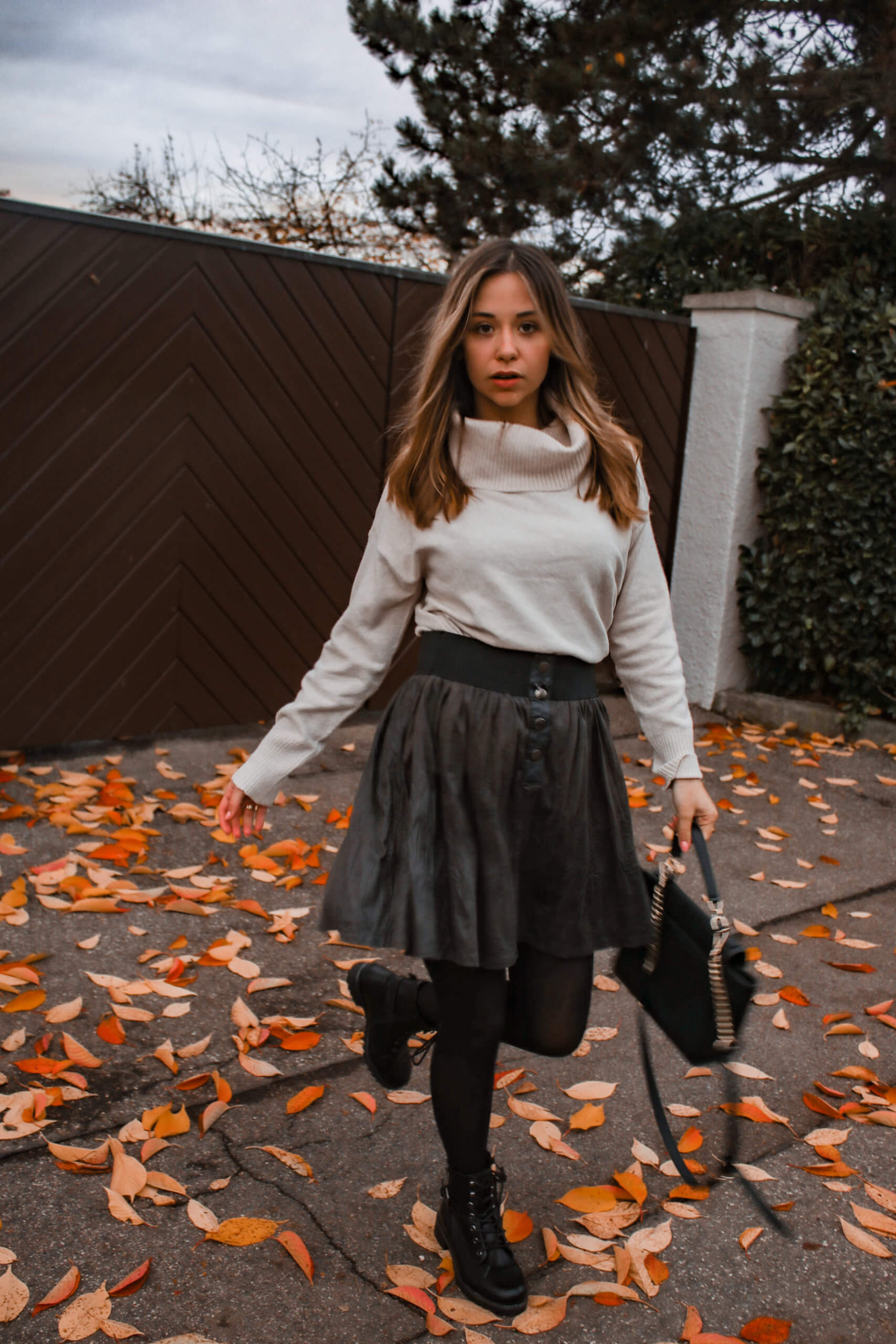 Strumpfhose rock outfit mit und Herbst Outfits