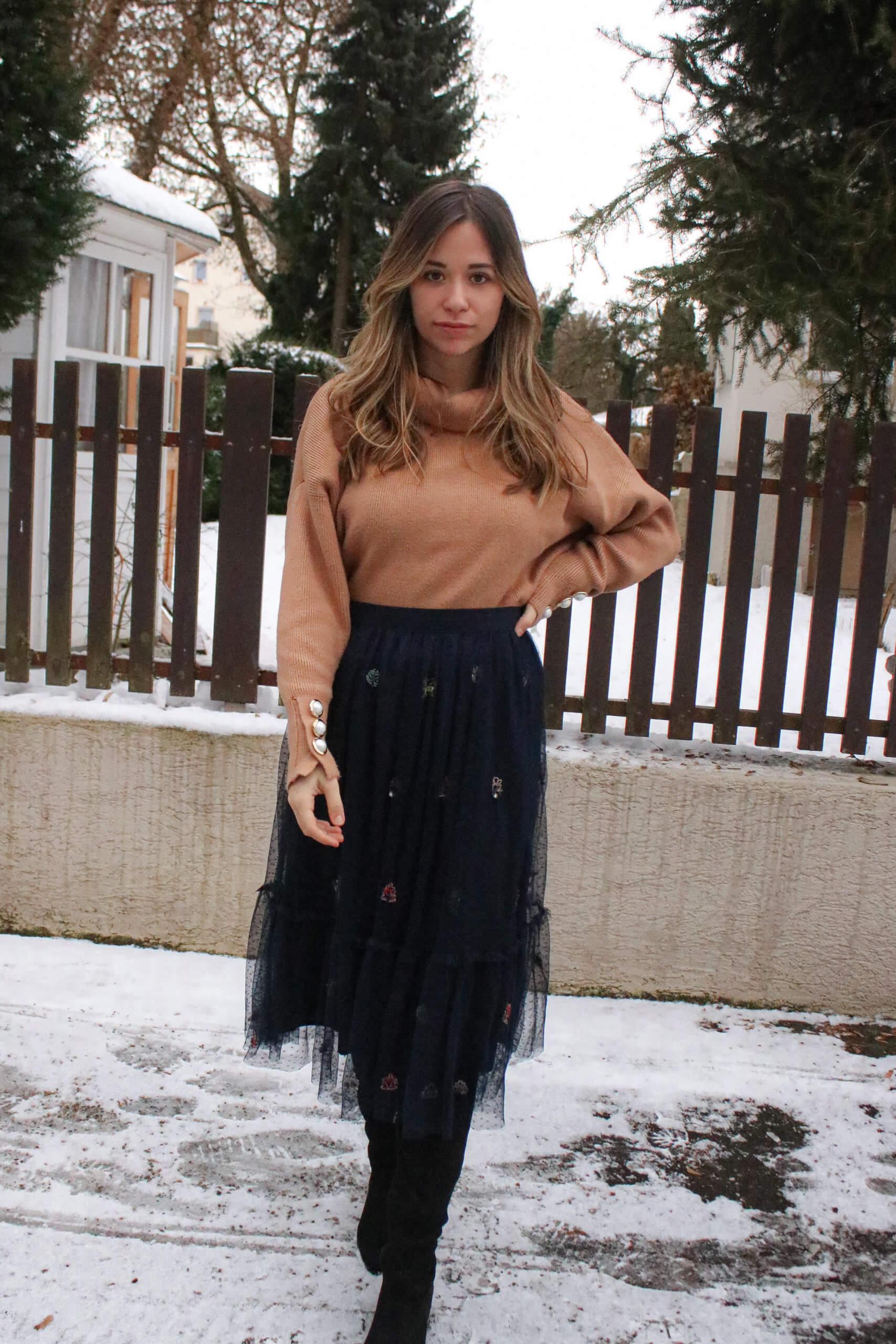 Mein Winter Outfit mit Rock – Wie ich einen langen Rock im Winter kombiniere