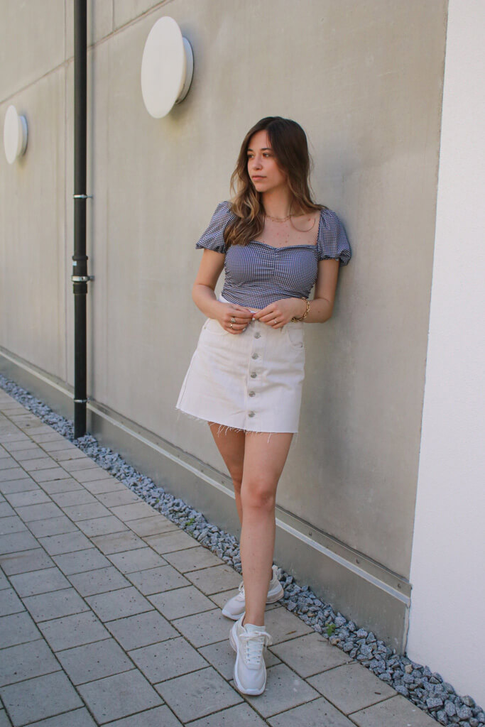 Gingham Outfit Idee - das Gingham Muster ist aktueller Trend Liebling