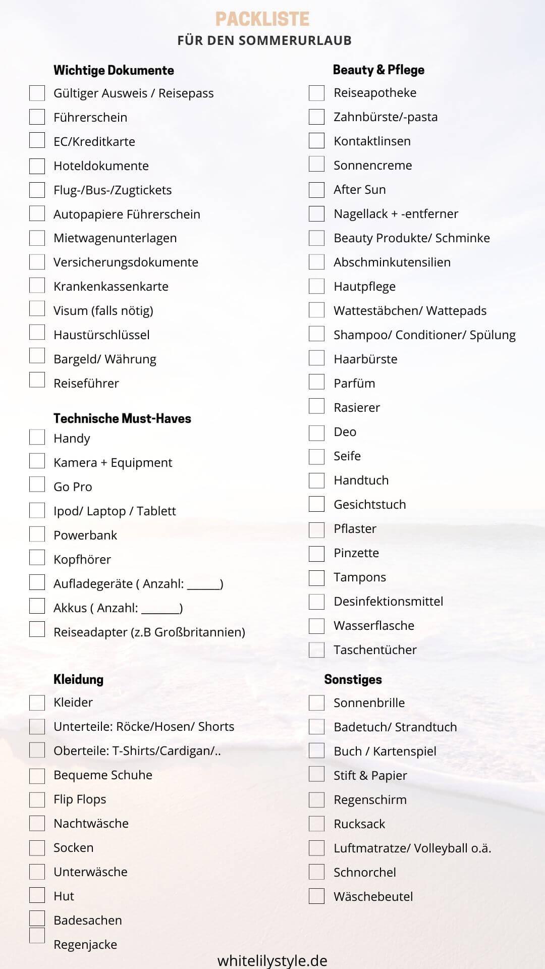 Packliste für den Urlaub - mit Packliste zum ausdrucken und abhaken