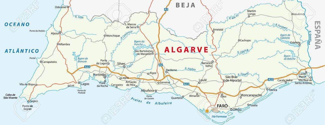 algarve road map karte Küste Portugal